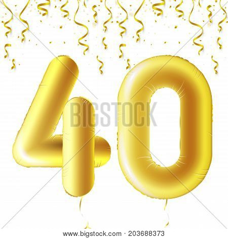Inflatable golden balls with falling confetti and hanging ribbons. Forty years, symbol 40. Vector illustration, logo or poster for Forties birthday celebrating