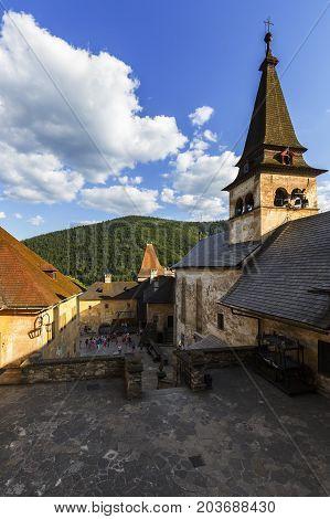 ORAVSKY PODZAMOK, SLOVAKIA - AUGUST 15, 2017: One of the courtyards of Orava castle in Slovakia on August 15, 2017.