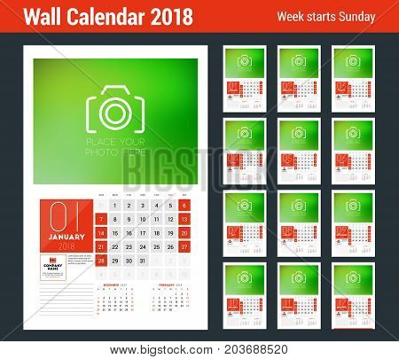 Wall Calendar Template for 2018 Year. Set of 12 Months. Vector Design Print Template with Place for Photo. Week starts on Sunday