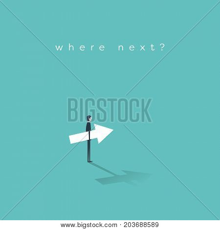 Business career move concept vector with businessman making a decision about his future career and corporate ladder. Businessman holding arrow. Eps10 vector illustration.