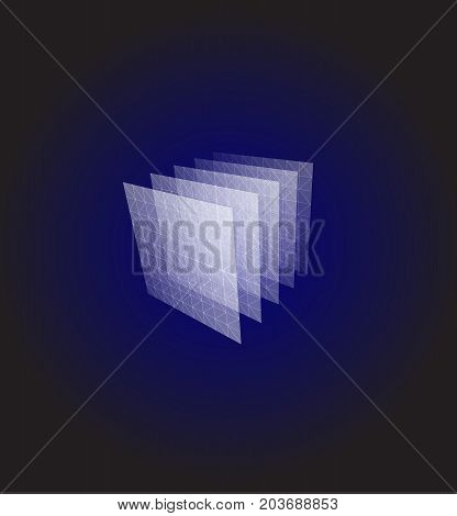 Abstract shape. Blue geometric visualization, layers cube. 3d architecture vector illustration