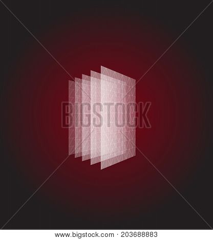 Abstract shape. Red geometric visualization, layers cube. 3d architecture vector illustration