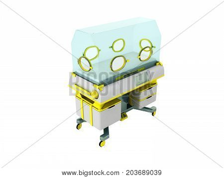 Incubator For Premature Babies Yellow 3D Render On White Background No Shadow