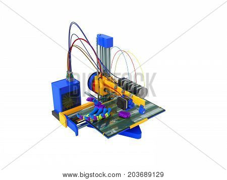 The Concept Of 3D Printer Printing Prosthesis 3D Render Prosthesis On White Background No Shadow