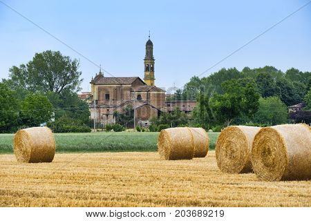 Rural landscape near Fidenza (Parma Emilia-Romagna Italy) at summer. Farm with the town of Parola in background