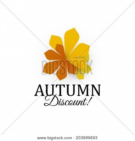 Autumn discount sign. Three autumn colors leaves. Vector logotype template. Sale label template