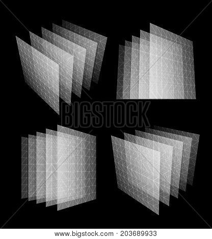 Bid data center abstract geometric vector illustration. New technology bank. Data center design concept. Unusual isolated software system logo set