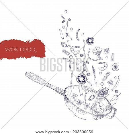 Monochrome realistic drawing of wok pan and vegetables, mushrooms, noodles, spices frying and tossing up. Chinese cooking vessel hand drawn in antique style with contour lines. Vector illustration