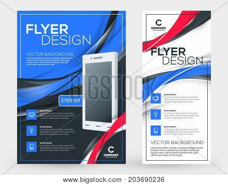 Abstract Vector Business Brochures Cover Or Banner Design Templates. Business Flyer And Poster With