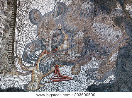 ISTANBUL, TURKEY - OCTOBER 29, 2015: Mosaic from the Byzantine period in the Great Palace Mosaic Museum in Istanbul Turkey. Great Palace was constructed during the reign of Justinian I (527-565)
