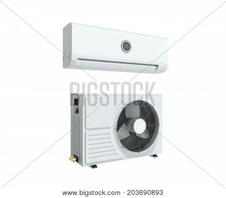 Air Conditioning Unit 3D Render On White Background