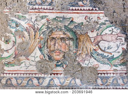 ISTANBUL, TURKEY - OCTOBER 29, 2015: Mosaic from the Byzantine period in the Great Palace Mosaic Museum in Istanbul, Turkey. Great Palace was constructed during the reign of Justinian I (527-565)