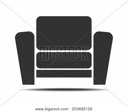 Living Room Armchair Icon on white background. Modern, simple flat vector illustration for web site or mobile app