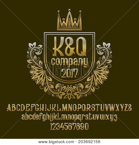 Golden letters and numbers with initial emblem in coat of arms form with crown. Awesome font and elements kit for logo design.
