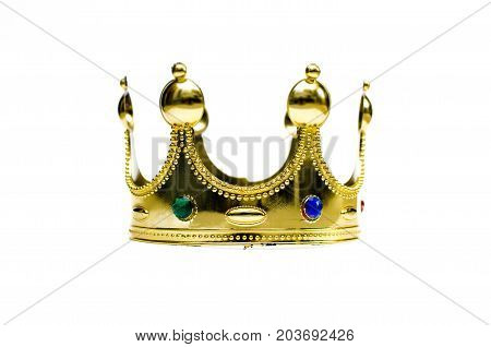 Golden crown isolated on white background. Toy crown.