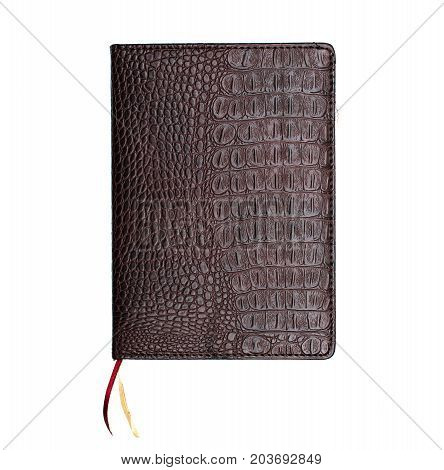 Leather book cover isolated on white background.