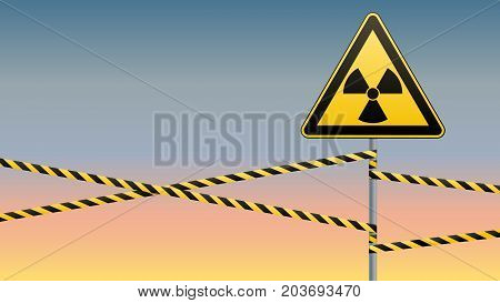 Warning sign on a pole and warning bands. Sign of radiation hazards. Vector illustration.