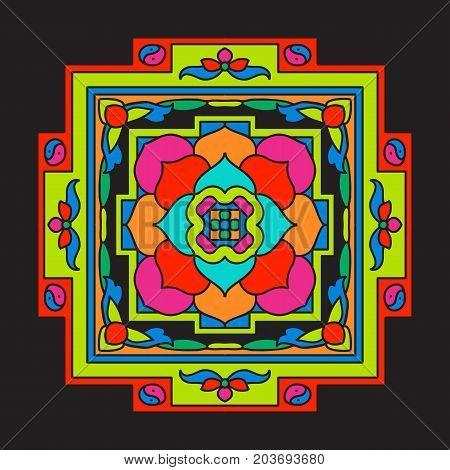 Tibet mandala on black background. Stock vector illustration.