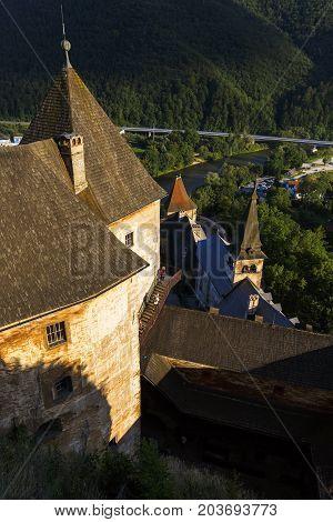 ORAVSKY PODZAMOK, SLOVAKIA - AUGUST 15, 2017: View from Orava castle in northern Slovakia on August 15, 2017.