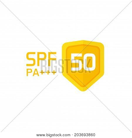 Spf label vector icon isolated on white, sun protection factor 50 symbol or sticker with text and shield