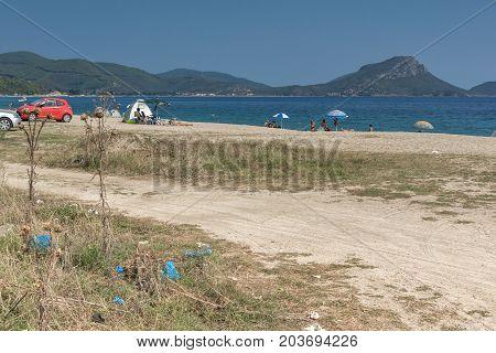 CHALKIDIKI, CENTRAL MACEDONIA, GREECE - AUGUST 25, 2014: Seascape of Tristinika beach at Sithonia peninsula, Chalkidiki, Central Macedonia, Greece