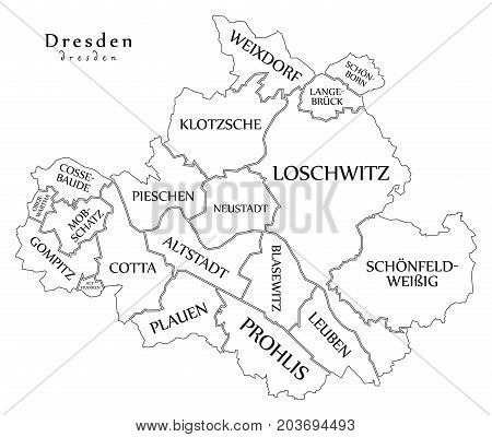 Modern City Map - Dresden City Of Germany With Boroughs And Titles De Outline Map