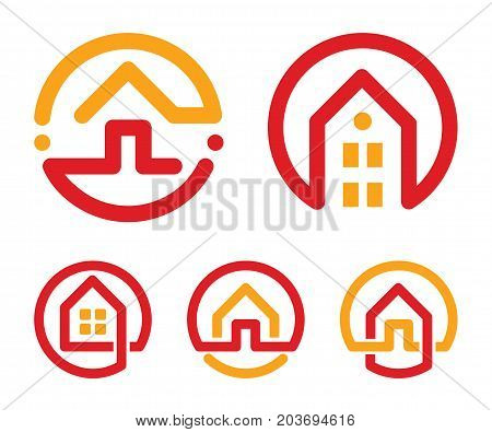 House abstract logos set. Red and yellow unusual linear real estate agency icons collection. Realtor logo. Home icon