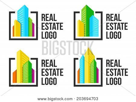 Colorful cityscape logo set in black frame. New buildings logotype. Real estate agency sign template