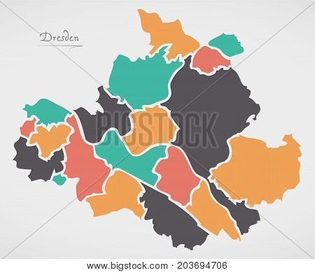 Dresden Map With Boroughs And Modern Round Shapes