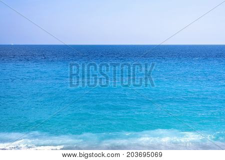 Beautiful daylight view to blue water of Nice Cote d'Azur, France.