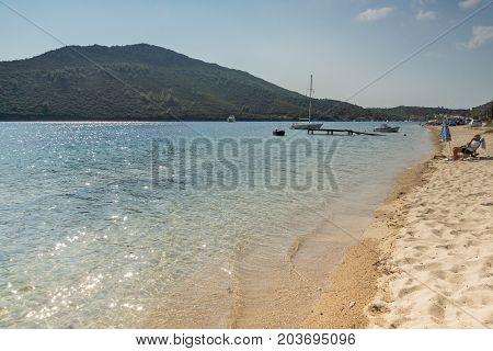 CHALKIDIKI, CENTRAL MACEDONIA, GREECE - AUGUST 25, 2014: Seascape of Porto Koufo beach at Sithonia peninsula, Chalkidiki, Central Macedonia, Greece