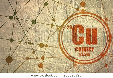 Copper chemical element. Sign with atomic number and atomic weight. Chemical element of periodic table. Molecule And Communication Background. Connected lines with dots. Grunge distress texture.