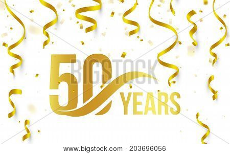 Isolated golden color number 50 with word years icon on white background with falling gold confetti and ribbons, 50th birthday anniversary greeting logo, card element, vector illustration.