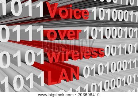 Voice over wireless LAN is presented in the form of binary code 3D illustration