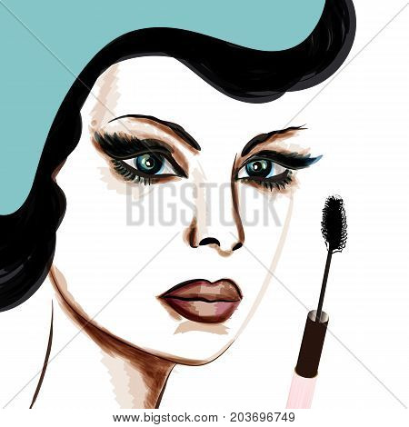 Elegant fashion illustration with beautiful lady and mascara