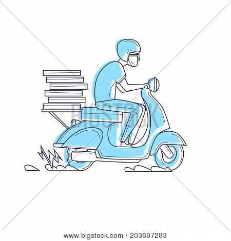 Delivery, the guy on the moped is carrying pizza thin line. Characters. Flat design vector illustration.