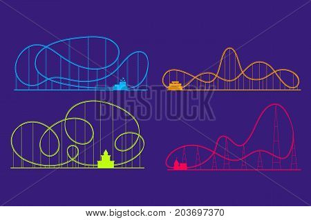 Amusement Park Roller Coaster Color Silhouettes Set Symbol Fun Leisure and Recreation. Vector illustration