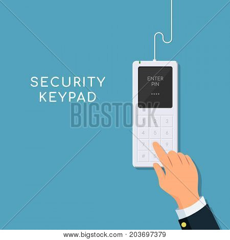 Human hand presses on the button, entering security system code. Entering PIN code on keypad. Vector illustration in flat style.