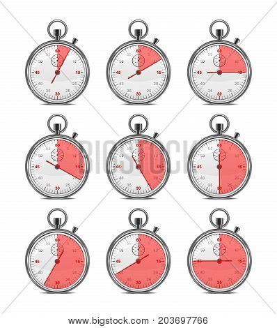 Realistic Classic Metal Stopwatch Set Symbol Sports Competition Equipment for Measurement. Vector illustration