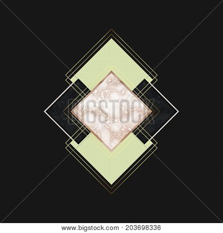 Black marble and rose gold tile pattern. Geometric print for your card, template, business, brochure. Trendy poster for textile, fabric, web, wallpaper, poster, home, premium design, floor tile.