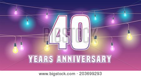 40 years anniversary vector icon banner. Graphic design element or logo with abstract background for 40th anniversary