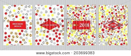Covers With Random, Chaotic Stars, Hexagram Elements. Vector Backgrounds For Restaurant Menu, Flyer,
