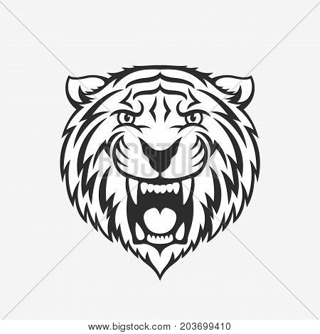 Tiger head logo emblem or icon in one color. Stock vector illustration.