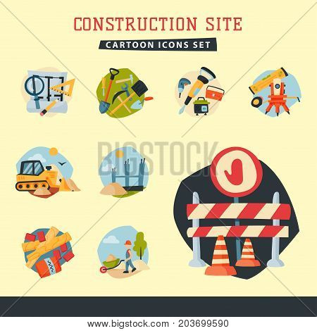 Construction site workers aerial industry equipment architecture crane building business development vector illustration. House making industrial city machinery housing.