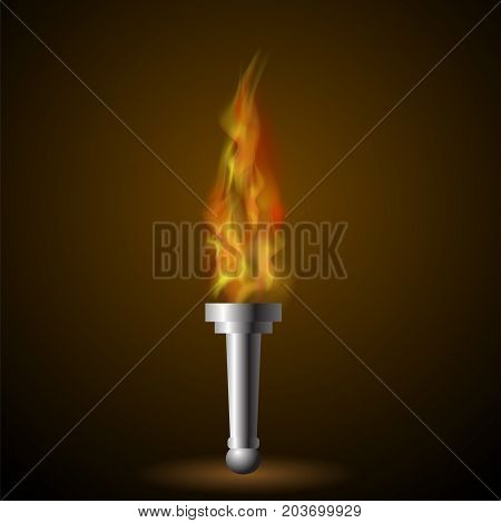Burning Torch with Fire Flame on Dark Background