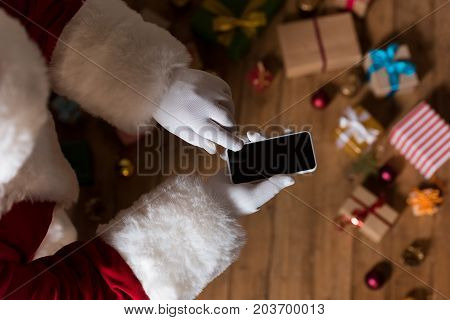 Santa Claus With Smartphone