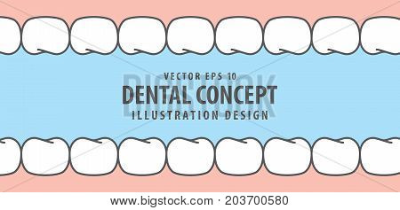 Teeth And Gum Inside View Cartoon Style Illustration Vector On Blue Background. Dental Concept.