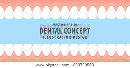 Teeth And Gum Inside View Virtual Style Illustration Vector On Blue Background. Dental Concept.