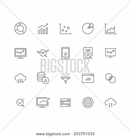 Set of 20 data analysis thin line icons. Charts, graphs, diagram, big data, database, servers, data cloud and much more. 64x64 pixel perfect. Vector illustration.
