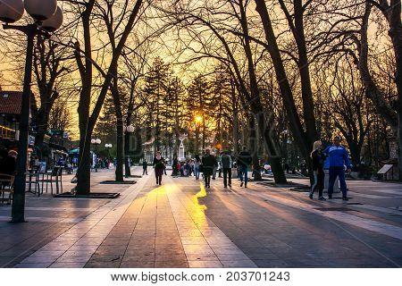 Sokobanja, Serbia - March 25, 2017: Sokobanja, Serbia Spa City With Tourists And Locals In The Walki